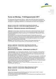Kurse am Montag Frühlingssemester 2011 - Kantonale ...
