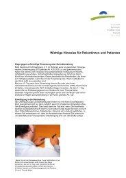 Wichtige Hinweise für Patientinnen und Patienten - Kantonale ...