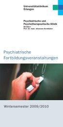 Psychiatrische Fortbildungsveranstaltungen WS2009-2010