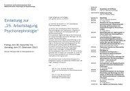 Programm der 25. Arbeitstagung Psychonephrologie - Psychiatrie