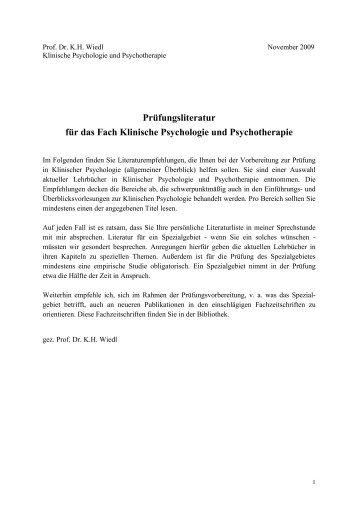 Prüfungsliteratur für das Fach Klinische Psychologie und ...