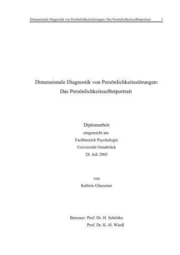 Dimensionale Diagnostik von Persönlichkeitsstörungen - Institut für ...
