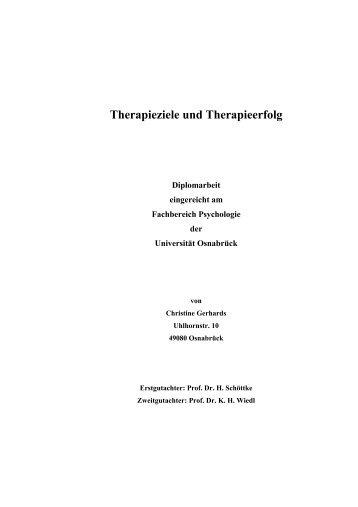 Therapieziele und Therapieerfolg - Institut für Psychologie ...