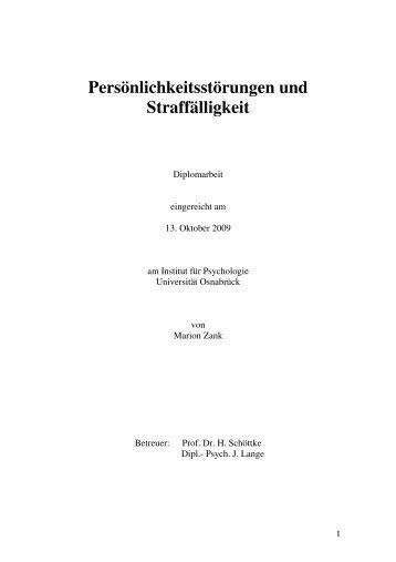 Persönlichkeitsstörungen und Straffälligkeit - Institut für Psychologie ...