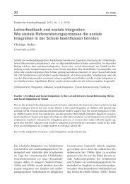 Lehrerfeedback und soziale Integration - Psychologie-aktuell.com