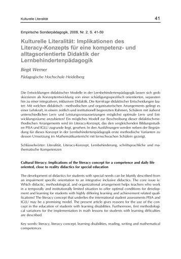 Kulturelle Literalität: Implikationen des Literacy-Konzepts für eine ...