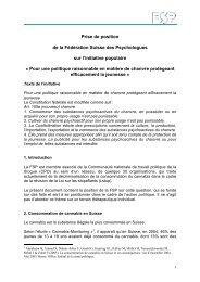 Prise de position de la Fédération Suisse des Psychologues ... - FSP