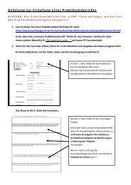 Anleitung Formular Praktikumsbericht