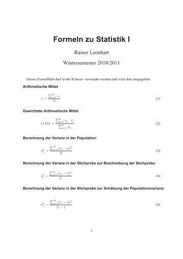 Formelblatt zur Klausur
