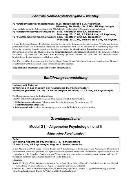 Kommentiertes Vorlesungsverzeichnis Bachelor WS 09-10