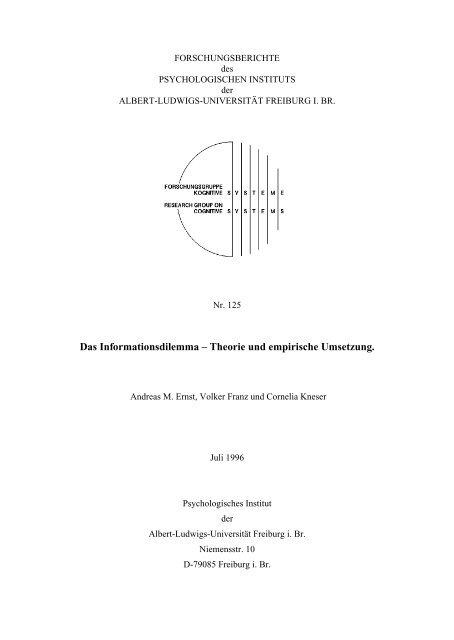 Das Informationsdilemma – Theorie und empirische Umsetzung.