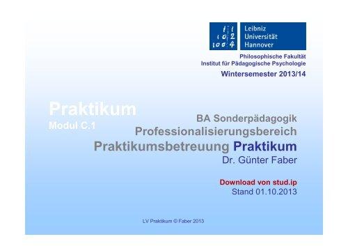 Praktikum - Institut für Pädagogische Psychologie