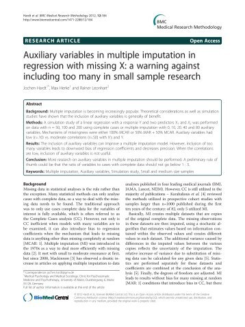 Auxiliary variables in multiple imputation in regression with missing ...