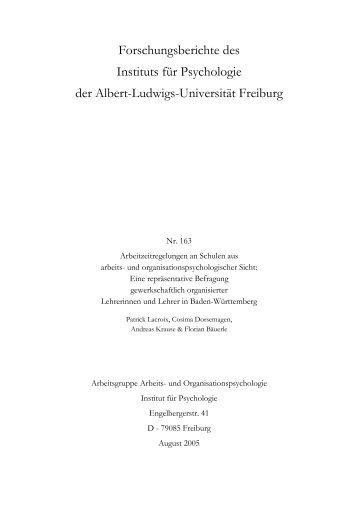 PDF - Institut für Psychologie - Albert-Ludwigs-Universität Freiburg
