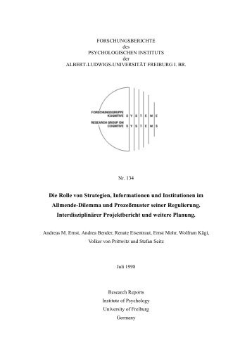 PD - Institut für Psychologie - Albert-Ludwigs-Universität Freiburg