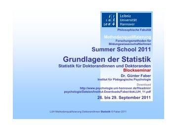 Blockseminar zu Grundlagen der Statistik - Institut für Pädagogische ...