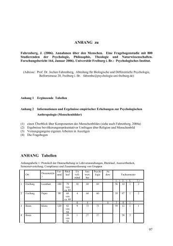 ANHANG zu ANHANG Tabellen - Jochen Fahrenberg