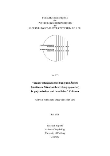 Verantwortungszuschreibung und Ärger - Institut für Psychologie ...
