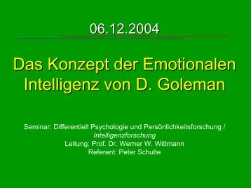 Emotionale Intelligenz - Psychologie