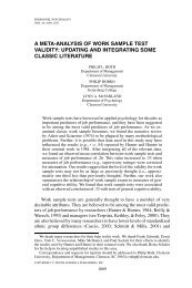 a meta-analysis of work sample test validity - Psychologie