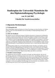 Studienplan der Universität Mannheim für den Diplomstudiengang ...