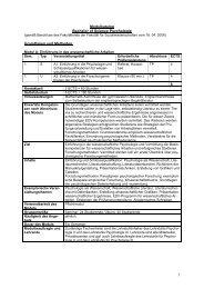 Modulkatalog Bachelor of Science Psychologie Grundlagen und ...