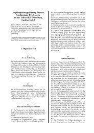 Diplomprüfungsordnung für den Studiengang Psychologie an der ...