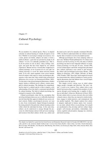 Introduction to Cross-Cultural Psychology Essay Sample