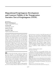 Dispositional Forgivingness: Development and Construct Validity of ...