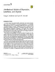 Attributional Models of Depression, Loneliness, and Shyness