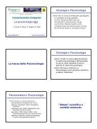 La psico-oncologia oggi - Psychomedia