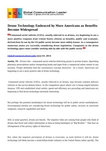 Drone Technology Embraced by More Americans as Benefits Become Widespread