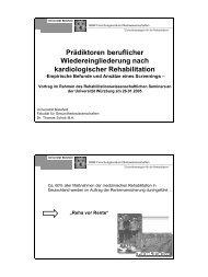 Prädiktoren beruflicher Wiedereingliederung nach kardiologischer ...