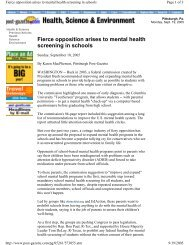 Fierce opposition arises to mental health screening ... - PsychSearch