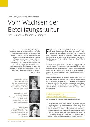 Vom Wachsen der Beteiligungskultur - Lehrstuhl für ...