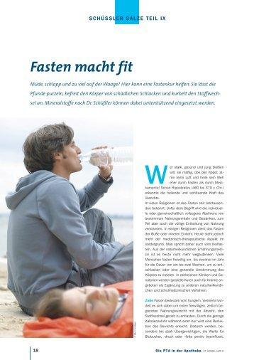 Fasten macht fit - Die PTA in der Apotheke