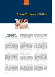 Arzneiformen – Teil III - Die PTA in der Apotheke