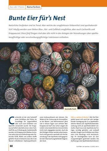 Naturfarben - Bunte Eier für's Nest - Die PTA in der Apotheke