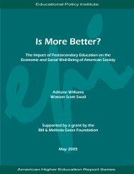 Is More Better? The Impact of Postsecondary Education