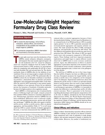 low molecular weight model study of The eastern association for the surgery of trauma guidelines recommend use of low-molecular-weight heparin (lmwh) as the preferred agent in these patients however, there is literature suggesting that unfractionated heparin (ufh) is an acceptable, and less costly, alternative vte prophylaxis agent with equivalent efficacy in trauma patients.