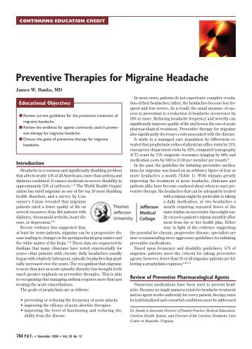 Preventive Therapies for Migraine Headache - P&T Community