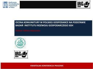 Ocena koniunktury w polskiej gospodarce na podstawie badań ...