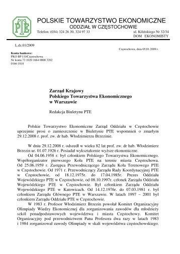 Wspomnienie - Polskie Towarzystwo Ekonomiczne