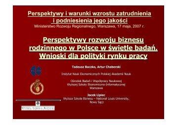 Perspektywy rozwoju biznesu rodzinnego w Polsce w świetle badań ...