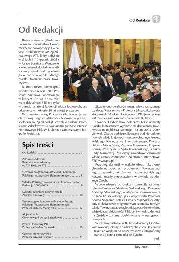 biuletyn PTE 1-2006.indd - Polskie Towarzystwo Ekonomiczne