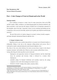 Post – Crisis Changes of Trust in Poland and in the World