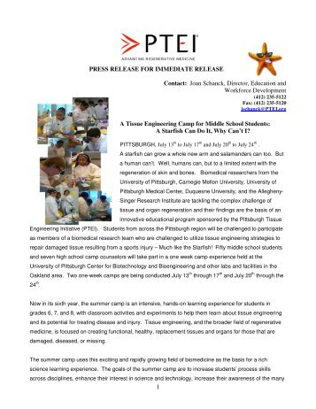 Press Release - Pittsburgh Tissue Engineering Initiative