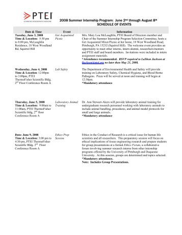 SIP 2008 Schedule of Events - Pittsburgh Tissue Engineering Initiative