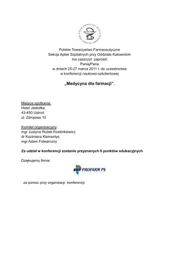 pobierz program - Polskie Towarzystwo Farmaceutyczne