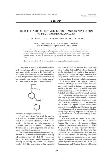 ketoprofen ion-selective electrode and its application to ...